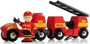 Детска противопожарна кола - Със светлинни и звукови ефекти - играчка