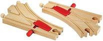 Релсови разклонения за влак - Дървена играчка за разширение на релсов път - играчка