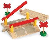 Железопътен прелез - Дървена играчка за разширение на релсов път - играчка