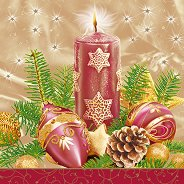 Салфетки за декупаж - Коледна свещ - Пакет от 20 броя