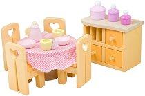 Трапезария - Комплект детски дървени мебели за куклена къща - фигура