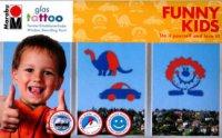 Бои за стъкло - GlasTattoo: Funny kids - Комплект от 2 броя с шаблони и шпакла