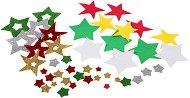 Цветни блестящи формички от EVA пяна - Звезди - Комплект от 44 броя
