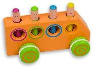 Автобус - Дървена играчка с отскачащи фигури -