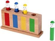 Надолу - нагоре - Дървена играчка с отскачащи фигури - играчка