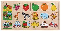 Подреди правилно плочките - Плодове, Животни, Превозни средства - Дървена играчка - количка