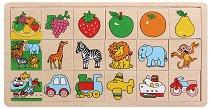 Подреди правилно плочките - Плодове, Животни, Превозни средства - Дървена играчка - творчески комплект
