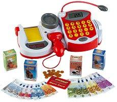 Детски касов апарат с калкулатор, баркод четец и везна - Комплект с аксесоари - играчка