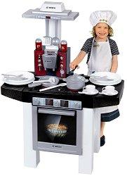 Детска кухня - Bosch Style - Със звуков ефект и аксесоари за готвене и сервиране - кукла