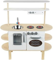 Детска дървена кухня с диспенсър за вода - играчка