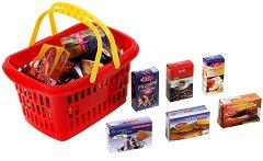 Детска кошница за пазаруване с кутийки за хранителни продукти - играчка