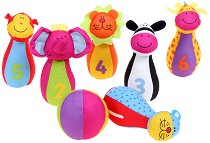 Кегли и топка за боулинг - Животните от джунглата - Детски текстилни играчки -