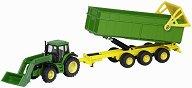 Трактор с гребло и ремарке - John Deere - Метална играчка - играчка