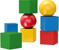 Кубчета и топчета - Детски дървен комплект с магнити - играчка