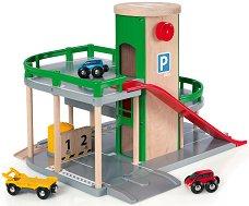 Паркинг на два етажа - Детски дървен комплект с две колички - творчески комплект