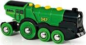 Голям зелен локомотив - Детска играчка - фигура