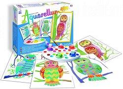 Оцветявай с акварелни бои - Бухали - Творчески комплект за рисуване - играчка