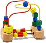 Цветен лабиринт - Детска дървена играчка с фигурки -