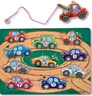 Пътна помощ - Детски дървен пъзел с магнити - пъзел