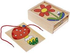 Дървена кутия с плочки за нанизване - Образователна играчка - играчка