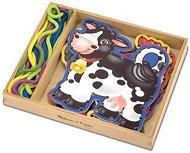 Животните от фермата - Комплект дървени фигури за нанизване - играчка