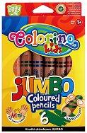 Цветни моливи - Extra Jumbo - Комплект от 6 цвята + острилка