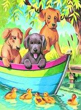 Нарисувай сам - Кученца в лодка - Творчески комплект за рисуване с моливи - играчка