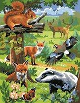 Нарисувай сам 2 картини - Животните в гората - Творчески комплект за рисуване с акрилни бои - играчка