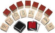 Гумени печати и мастила - Комплект за момичета от 15 печата и 2 мастила -