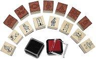 Гумени печати и мастила - Комплект за момчета от 15 печата и 2 мастила - продукт