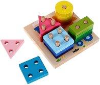 Форми и цветове - Образователна дървена играчка за нанизване - играчка