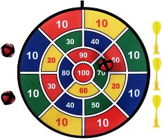 Плюшен дартс - Комплект с 3 стрелички и 3 топчета - играчка