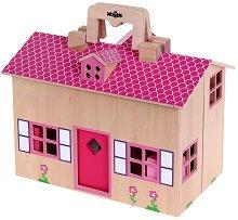 Дървена къща-куфарче за кукли - играчка
