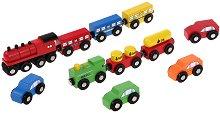 Дървени превозни средства - Комплект от 11 броя - релса