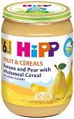 HIPP - Био каша с круша и банан с пълнозърнести култури - Бурканче от 190 g за бебета над 6 месеца - пюре