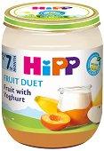 Плодов дует - Био плодове и йогурт - Бурканче от 160 g за бебета над 7 месеца - пюре