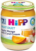 Плодов дует - Био ябълка, манго и извара - Бурканче от 160 g за бебета над 7 месеца - пюре