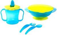 Чаша, купичка и прибори - Комплект за хранене за бебета над 6 месеца -
