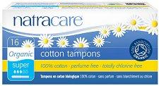 Natracare Cotton Tampons Super - Дамски тампони от био памук в опаковка от 16 броя - лак