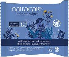 Natracare Intimate Wipes - Интимни мокри кърпички с невен и лайка в опаковка от 12 броя - балсам