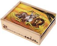 Дървена кутия с плочки за нанизване - Мадагаскар - Детска образователна играчка -