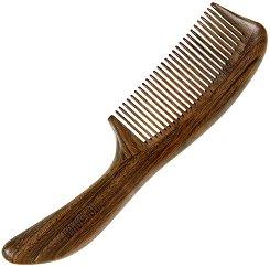 Гребен за коса с дръжка от гваяково дърво - лак