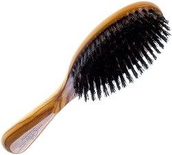 Четка за коса - От маслиново дърво и естествен косъм - четка