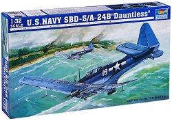 """Военен самолет - U.S. Navy SBD-5/A-24B """"Dauntless"""" - Сглобяем авиомодел -"""