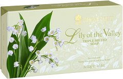 """Bronnley Lily of the Valley Triple Milled Soap - Комплект от 3 броя луксозни сапуни от серията """"Lily of the Valley"""" - продукт"""