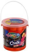 Цветни тебешири - Jumbo - Комплект от 12 броя в пластмасова кофичка