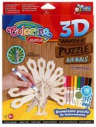 """Паун - От серията """"3D дървени пъзели за оцветяване"""" - пъзел"""