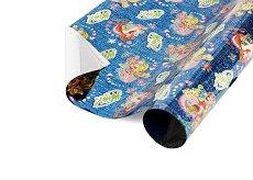 Син опаковъчен лист за детски подаръци - Winx - Фолио с размери 40 x 150 cm