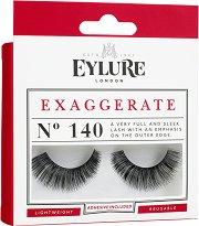 Eylure Exaggerate 140 - Мигли от естествен косъм в комплект с лепило - серум