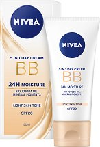Nivea 24H Moisture 5 in 1 BB Day Cream - SPF 20 - Хидратиращ BB крем за лице - балсам